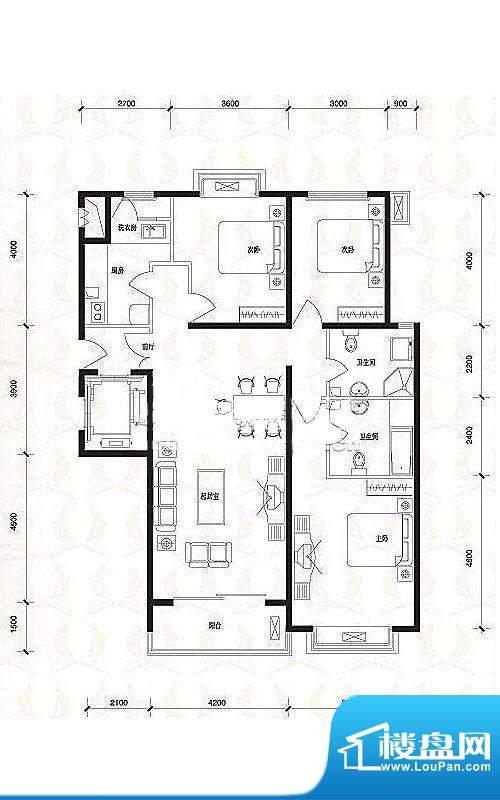 夏威夷水岸1号公寓C1户型 3室面积:136.30平米