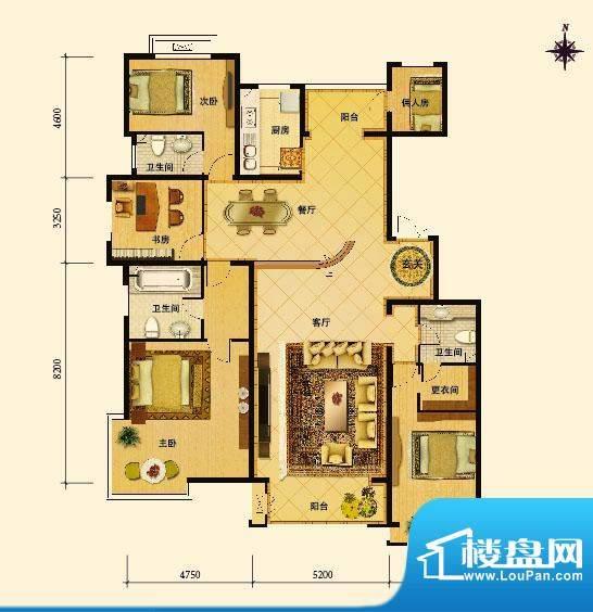 夏威夷水岸1号L户型 4室2厅3卫面积:242.50平米