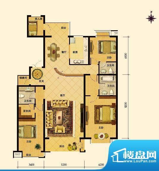 夏威夷水岸1号M户型 4室2厅3卫面积:212.50平米