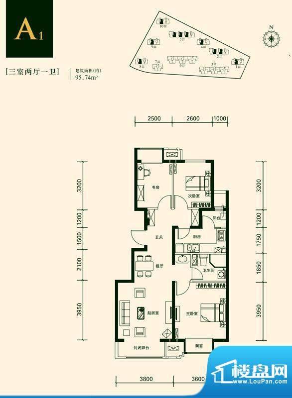 京投银泰上林湾A1户型图 3室2厅面积:95.74平米