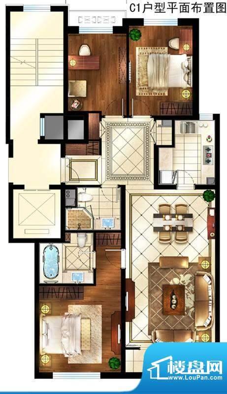 润西山·B组团C1户型 3室1厅2卫面积:126.00平米