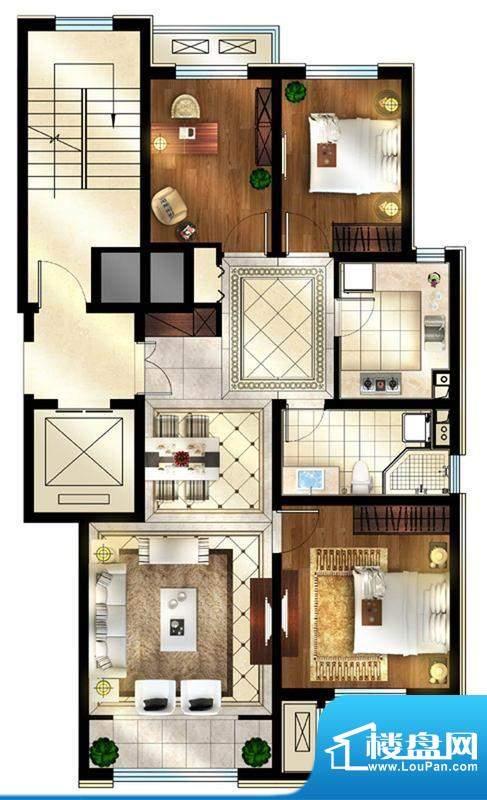 润西山·B组团C2户型 3室1厅1卫面积:109.00平米