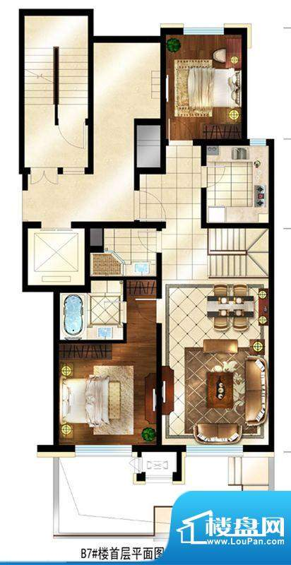 润西山·B组团7#楼C1s首层 2室面积:180.00平米