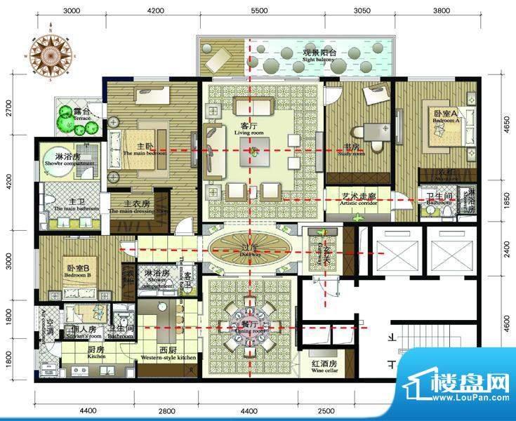 正源·金融世家华苑C户型 4室2面积:299.49平米