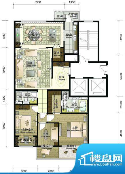 正源·金融世家华苑D户型 3室2面积:188.03平米