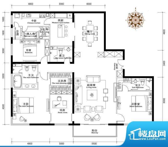 正源·金融世家华苑A1户型 4室面积:386.00平米