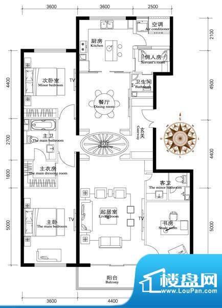 正源·金融世家华苑E2户型 3室面积:260.00平米