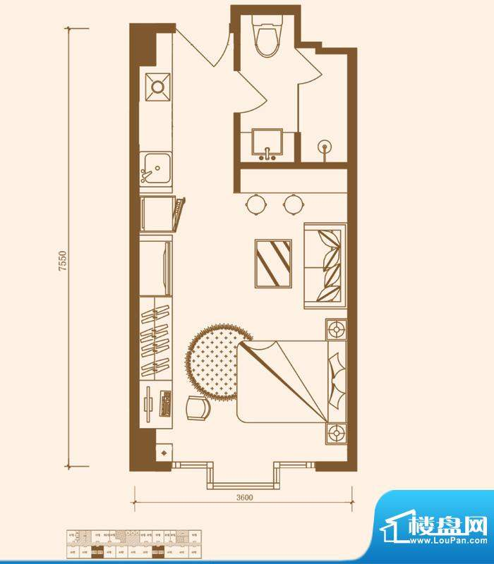 优盘D1户型 1室1厅1卫1厨面积:25.75平米