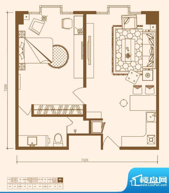 优盘C3户型 1室1厅1卫1厨面积:74.00平米