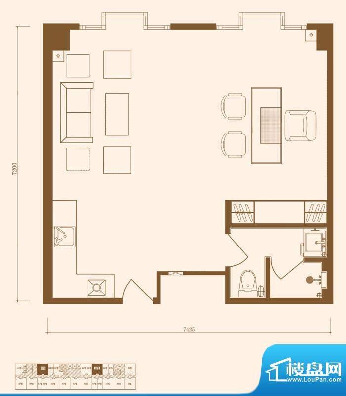 优盘C1户型 1室1厅1卫1厨面积:66.28平米