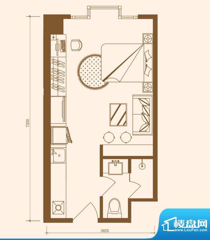 优盘B2户型 1室1厅1卫1厨面积:34.17平米