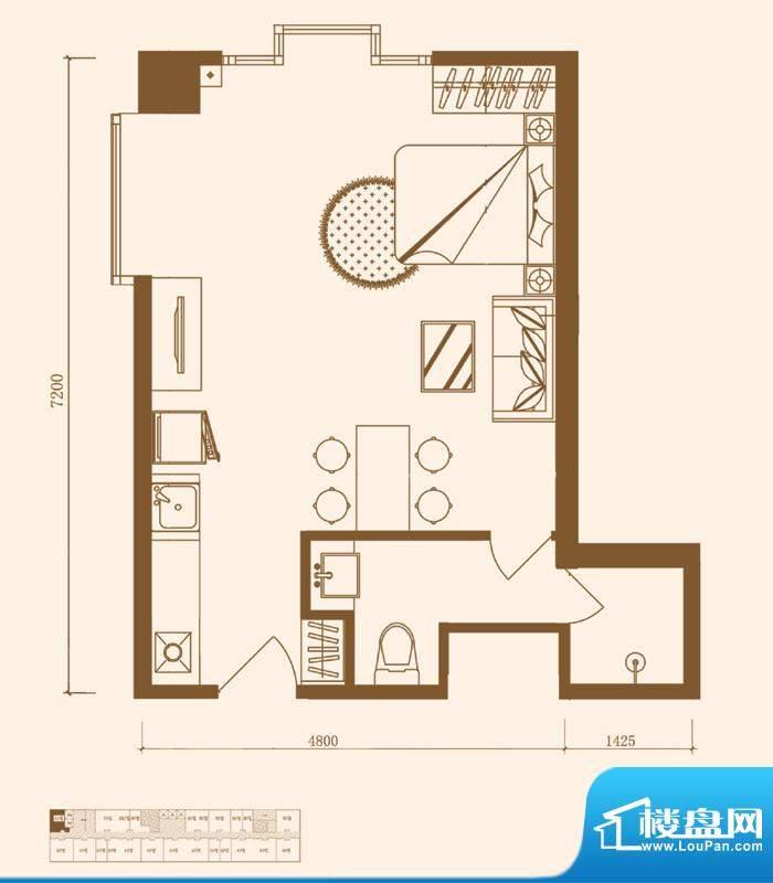 优盘B1户型 1室1厅1卫1厨面积:46.07平米