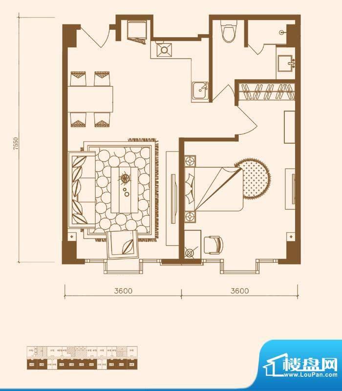 优盘A1户型 1室1厅1卫1厨面积:66.99平米