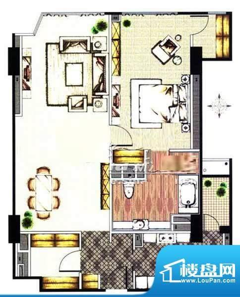 贡院9号1居户型 1室2厅1卫1厨面积:120.88平米