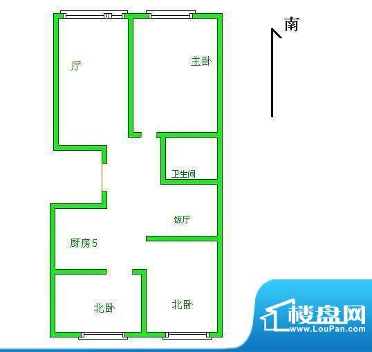 贡院9号户型图 3室2厅1卫1厨