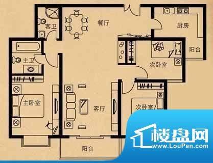 贡院9号户型图 3室2厅2卫1厨