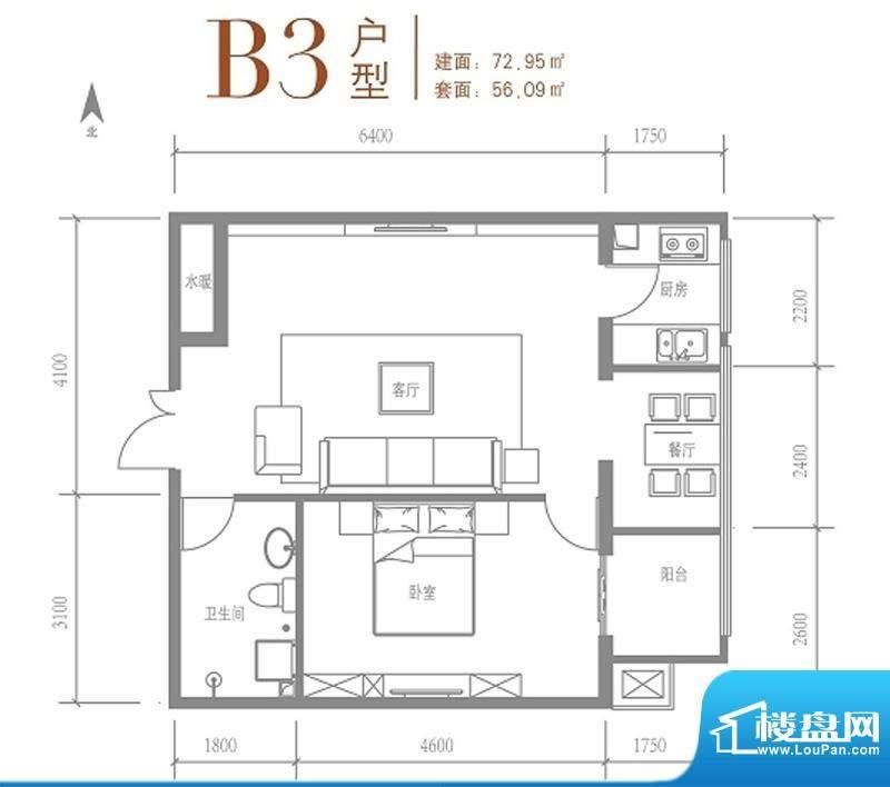戛纳35号B3户型 1室1厅1卫1厨面积:72.95平米