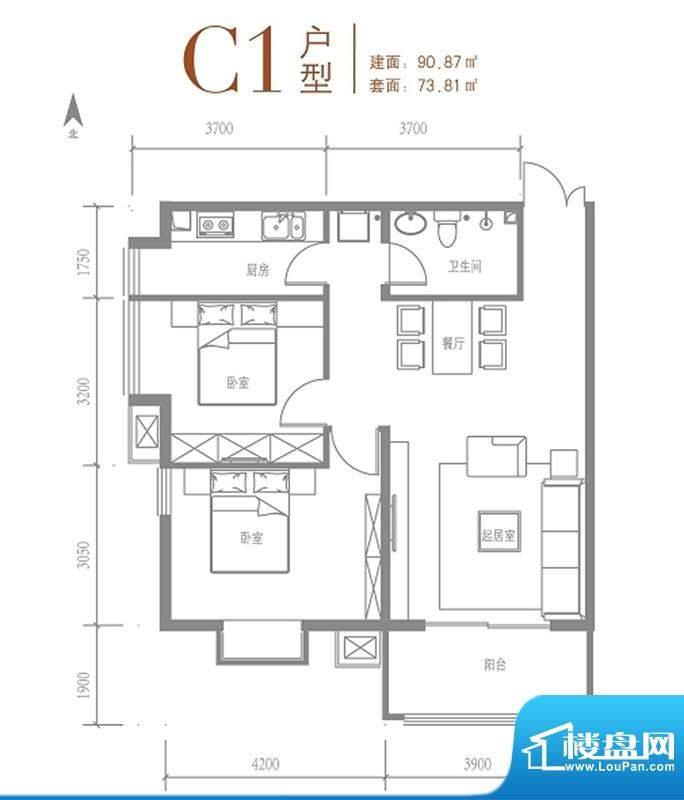 戛纳35号c1户型 2室2厅1卫1厨面积:90.87平米