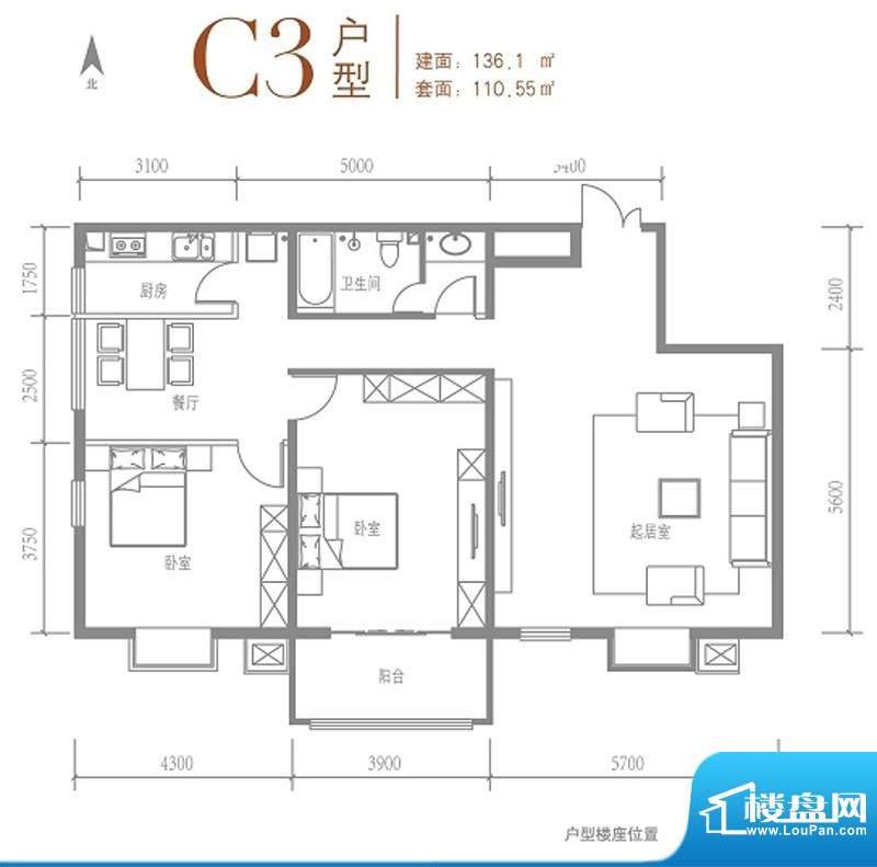 戛纳35号c3户型 2室2厅1卫1厨面积:136.10平米