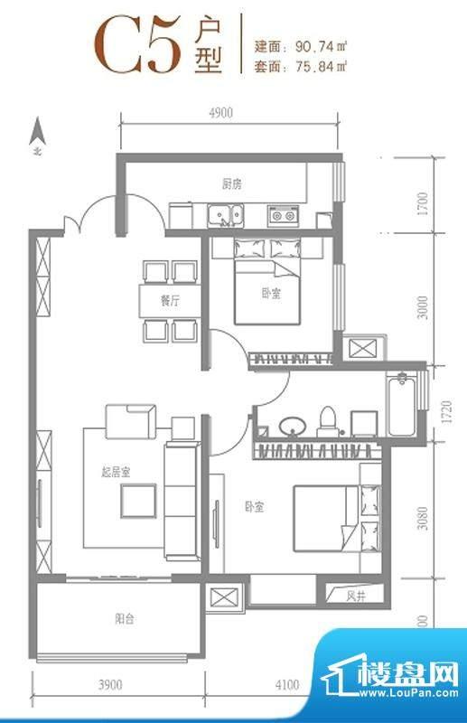 戛纳35号c5户型 2室2厅1卫1厨面积:90.74平米