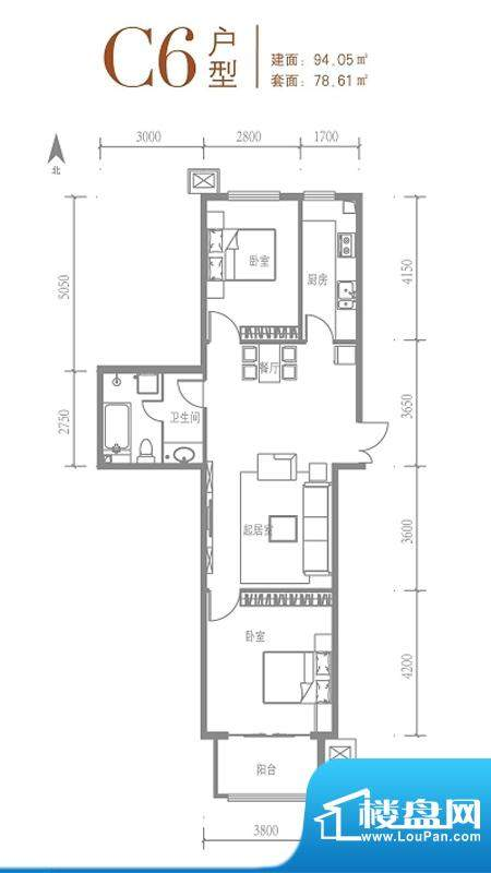 戛纳35号C6户型 2室1厅1卫1厨面积:94.05平米