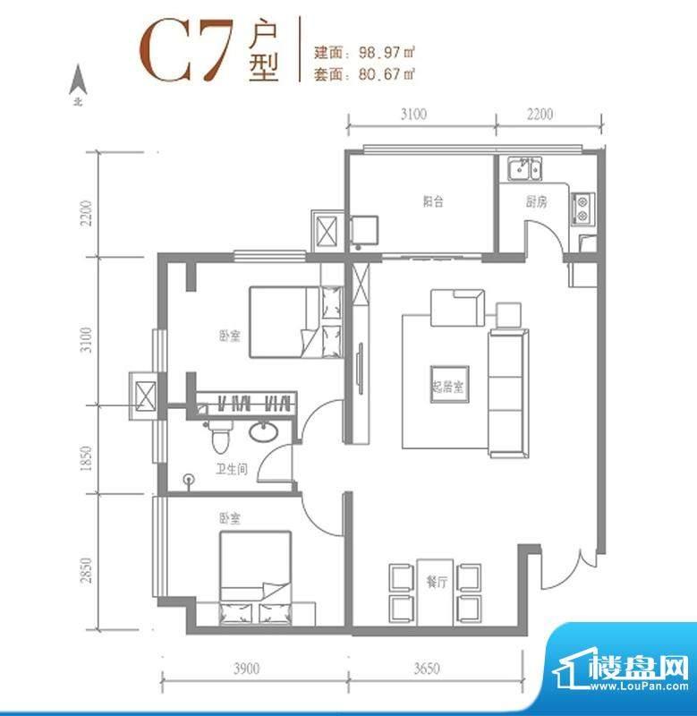 戛纳35号C7户型 1室1厅1卫1厨面积:98.97平米