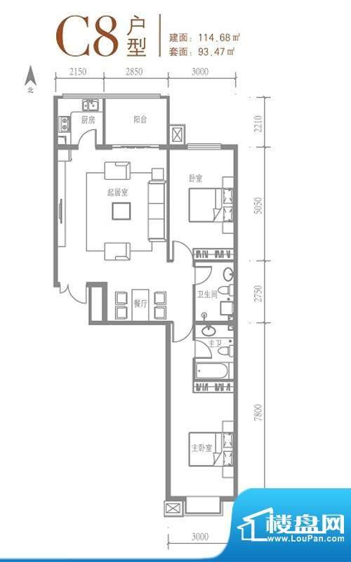 戛纳35号C8户型图 2室2厅2卫1厨面积:114.68平米