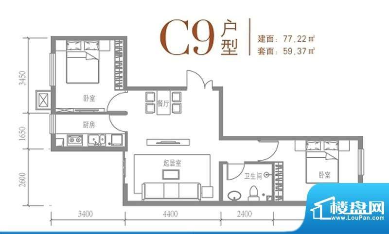 戛纳35号C9户型图 2室2厅1卫1厨面积:77.22平米