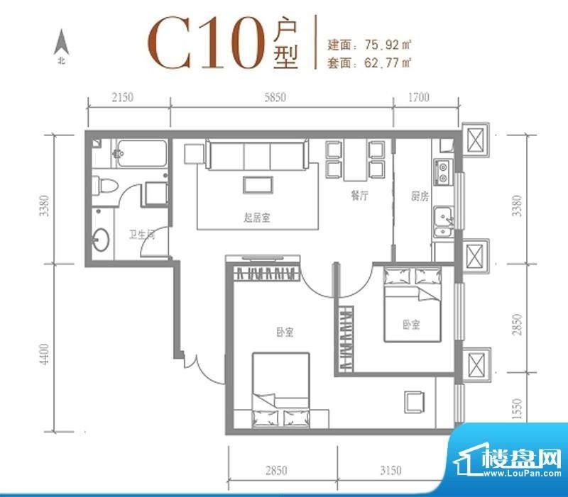 戛纳35号C10户型 2室2厅1卫1厨面积:75.92平米