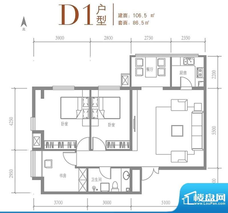 戛纳35号D1户型图 2室2厅1卫1厨面积:106.50平米