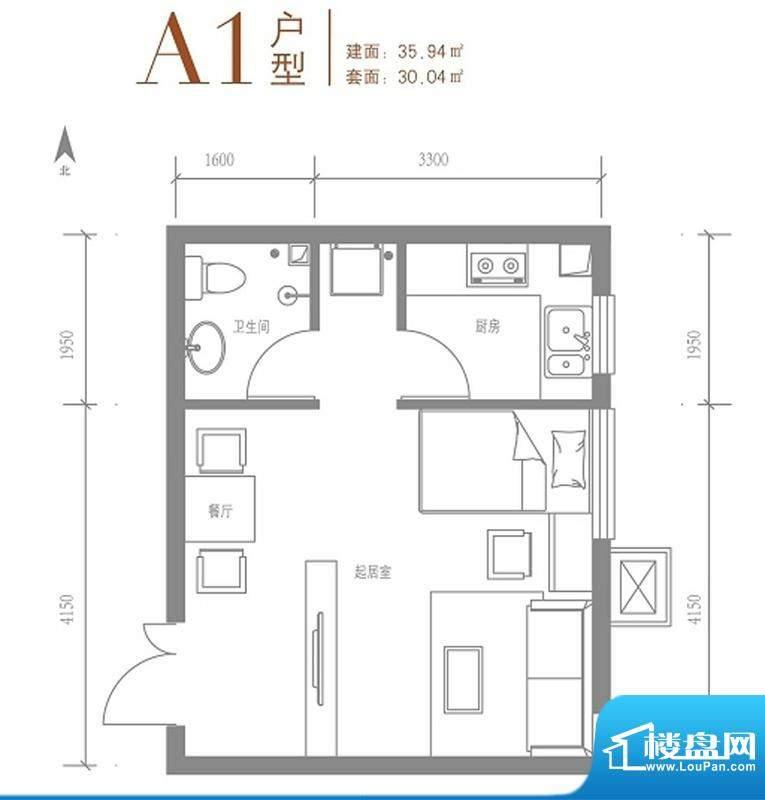 戛纳35号A1户型图 1室1厅1卫1厨面积:35.94平米