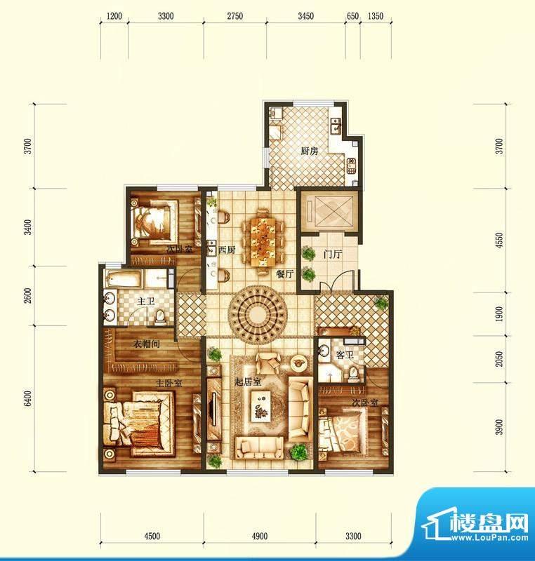 天润·香墅湾1号I户型图 3室2厅面积:190.00平米