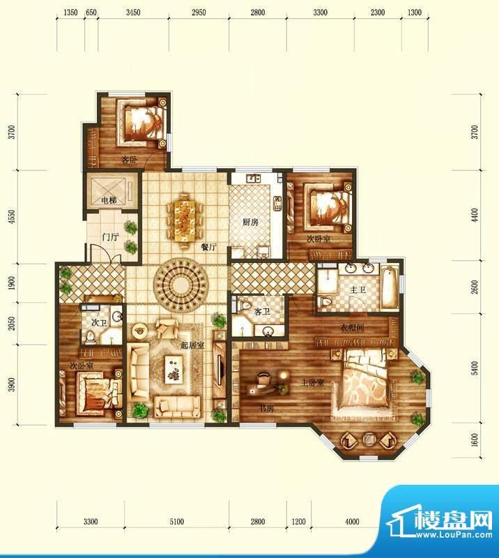 天润·香墅湾1号H户型图 3室2厅面积:262.00平米