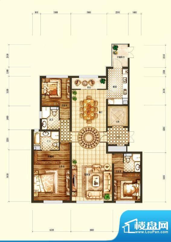 天润·香墅湾1号D户型图 3室2厅面积:180.00平米