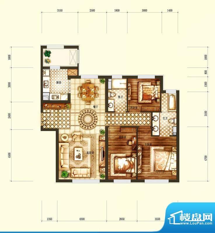 天润·香墅湾1号C户型图 3室2厅面积:136.00平米