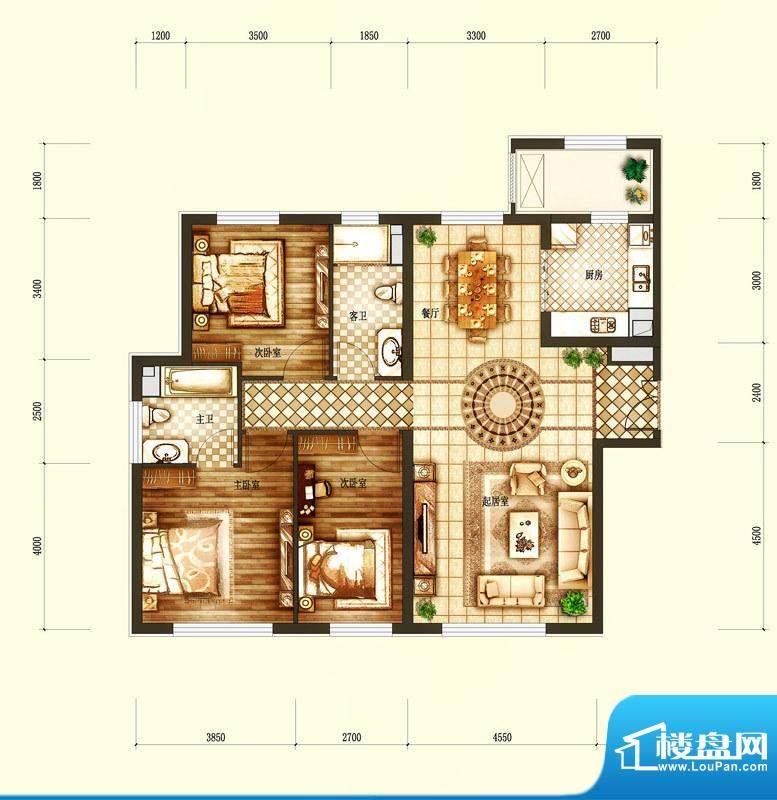 天润·香墅湾1号B户型图 3室2厅面积:150.00平米