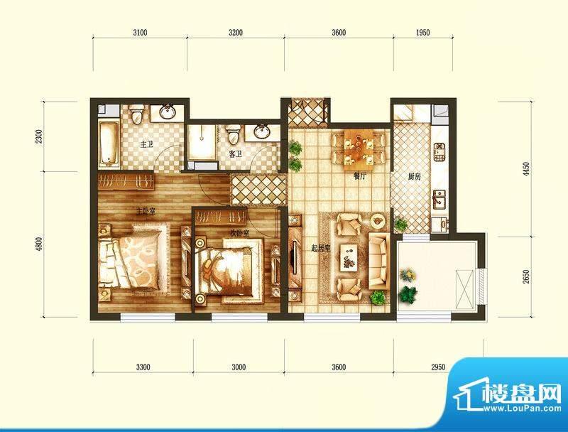 天润·香墅湾1号A户型图 2室2厅面积:100.00平米
