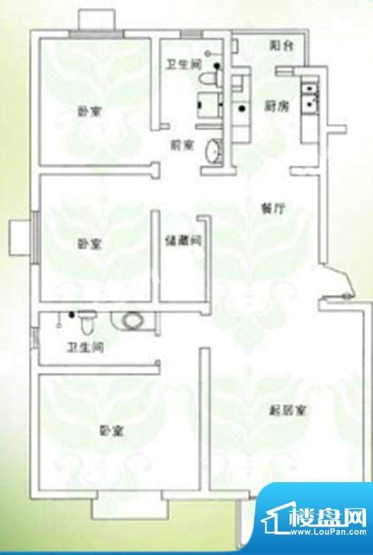 千禧家园三期B户型户型图 3室2面积:132.08平米