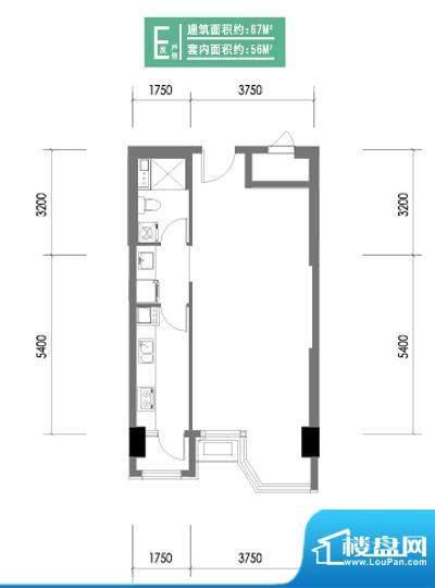 合生时代帝景E反户型 1室1卫1厨面积:67.00平米