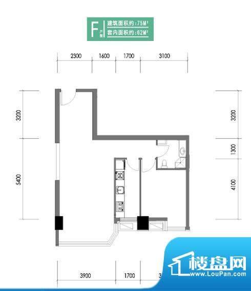 合生时代帝景F户型 1室2厅1卫1面积:75.00平米