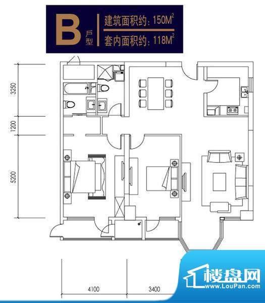 合生时代帝景3号楼B户型 2室2厅面积:150.00平米
