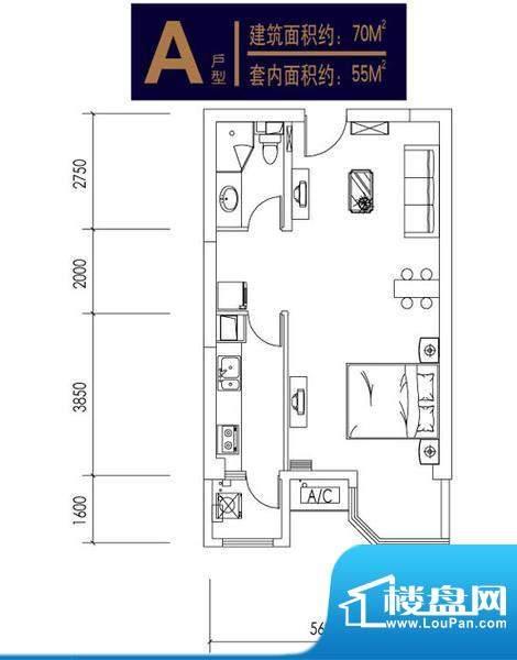 合生时代帝景1、2号楼A户型 面积:70.00平米