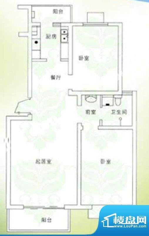 千禧家园三期C户型户型图 2室2面积:91.32平米