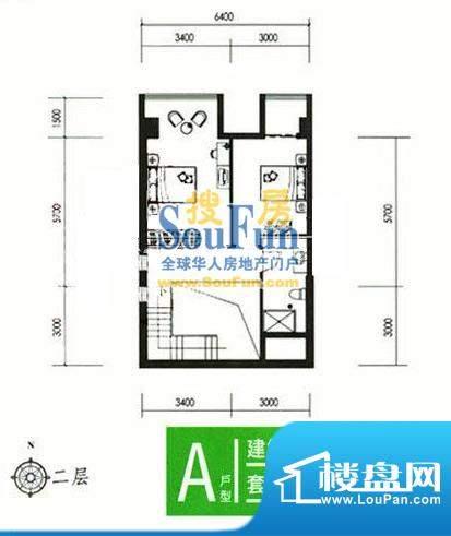 合生时代帝景A户型二层 2室2厅面积:75.00平米