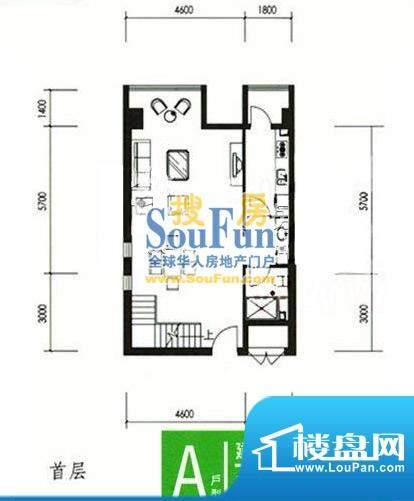 合生时代帝景A户型首层 2室2厅面积:75.00平米