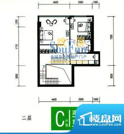 合生时代帝景C户型二层 3室1厅面积:92.00平米