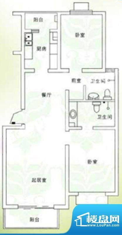 千禧家园三期D户型户型图 2室2面积:99.41平米