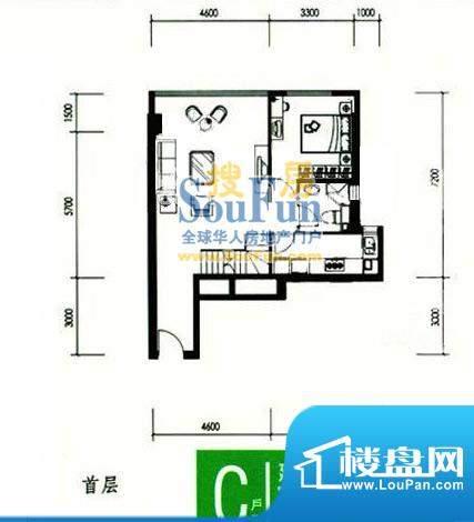 合生时代帝景C户型首层 3室1厅面积:92.00平米