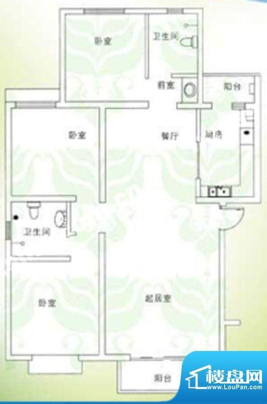 千禧家园三期E户型户型图 3室2面积:130.39平米