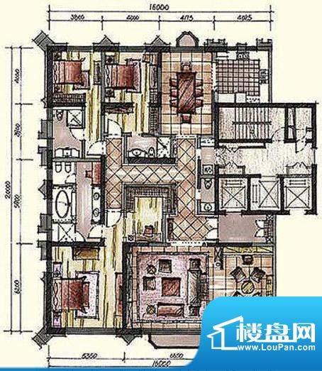 钓鱼台七号院A3户型 3室2厅4卫面积:347.00平米